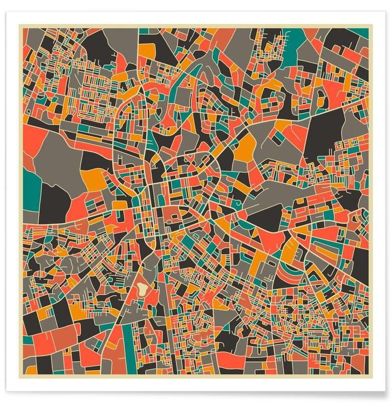 Bykort, Lusaka, Zambia Colourful Map Plakat