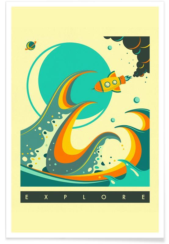 Retro, Kinderzimmer & Kunst für Kinder, Raumschiffe & Raketen, Europa Explore -Poster