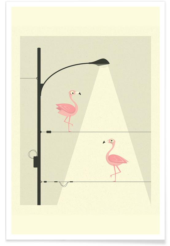 Flamingos on a Wire -Poster