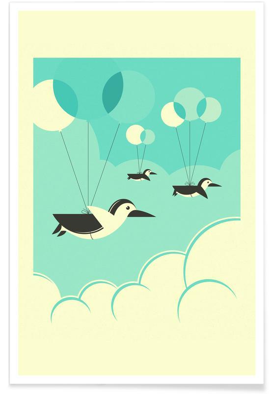Art pour enfants, Pingouins, Flock of Penguins 2 affiche