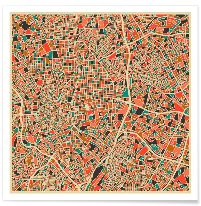 Madrid - Carte colorée affiche