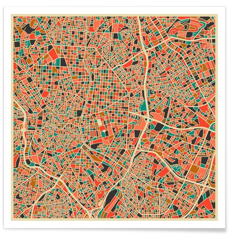 Bykort, Madrid, Madrid Colourful Map Plakat