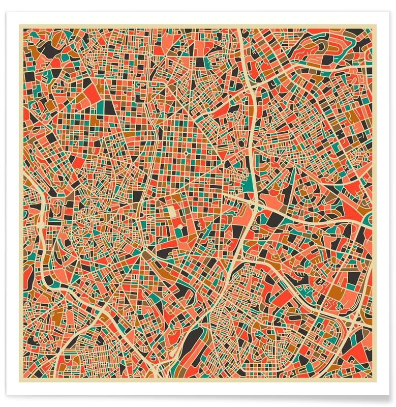 Bunte Madrid-Stadtkarte -Poster