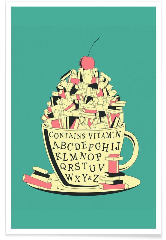 Alphabet et lettres, Rétro, Read affiche