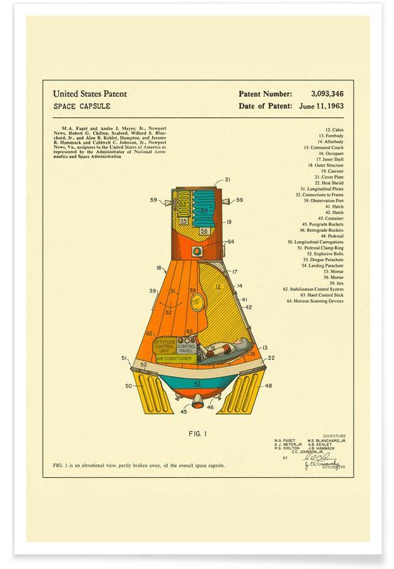 Fusées et vaisseaux spatiaux, Rétro, Art pour enfants, Space Capsule affiche