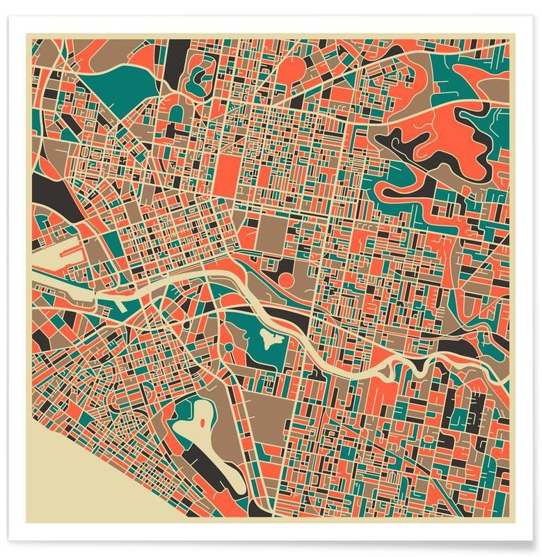 Cartes de villes, Melbourne - Carte colorée affiche