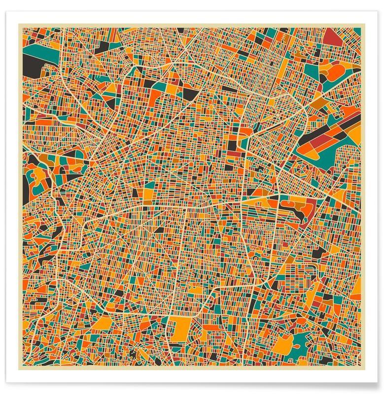 Cartes de villes, Mexico - Carte colorée affiche