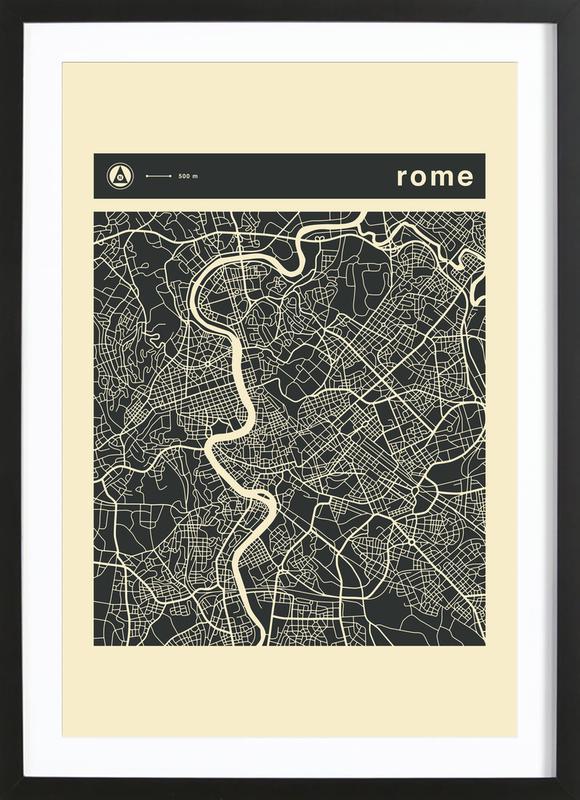 City Maps Series 3 Series 3 - Rome -Bild mit Holzrahmen