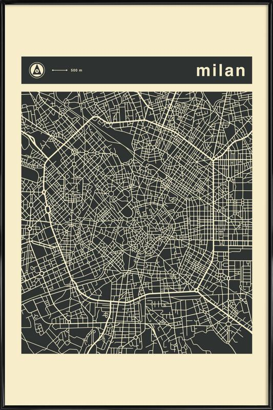 City Maps Series 3 Series 3 - Milan -Bild mit Kunststoffrahmen