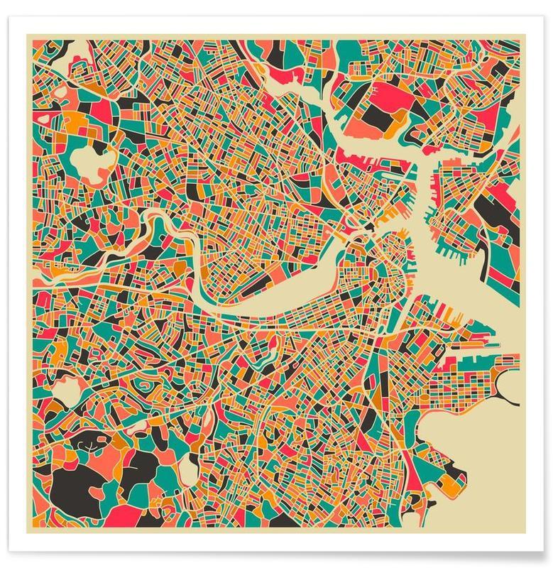 Boston - Carte colorée affiche