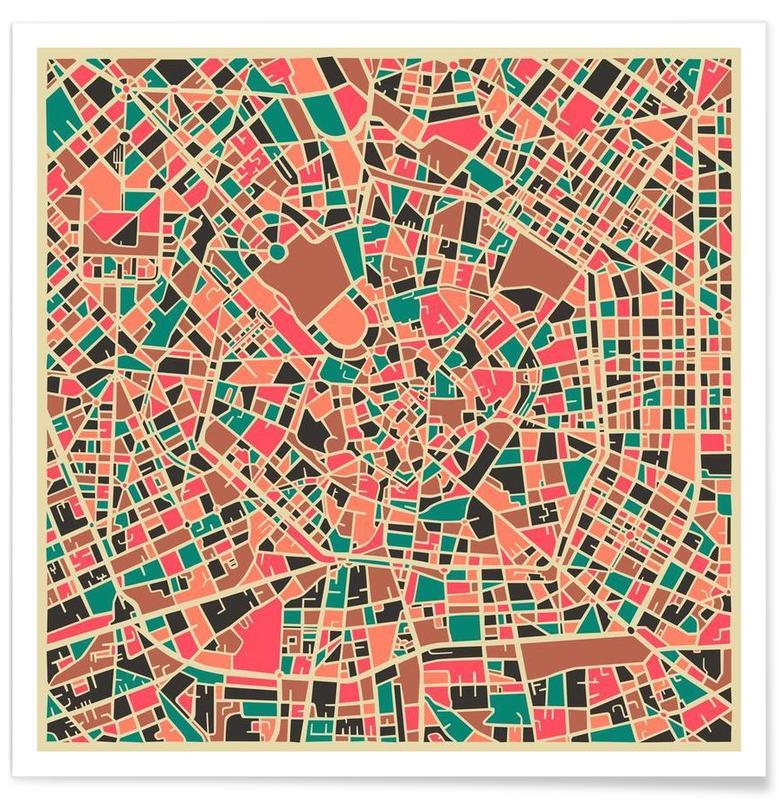 Bunte Mailand-Stadtkarte -Poster