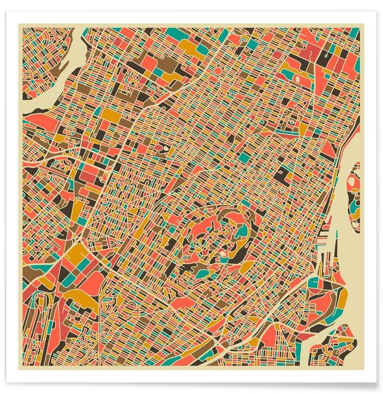 Cartes de villes, Montréal - Carte colorée affiche