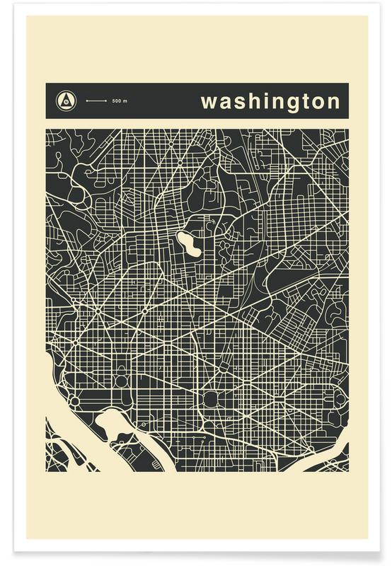 Stadtpläne, City Maps Series 3 - Washington -Poster