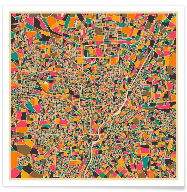 Munich - Carte colorée affiche