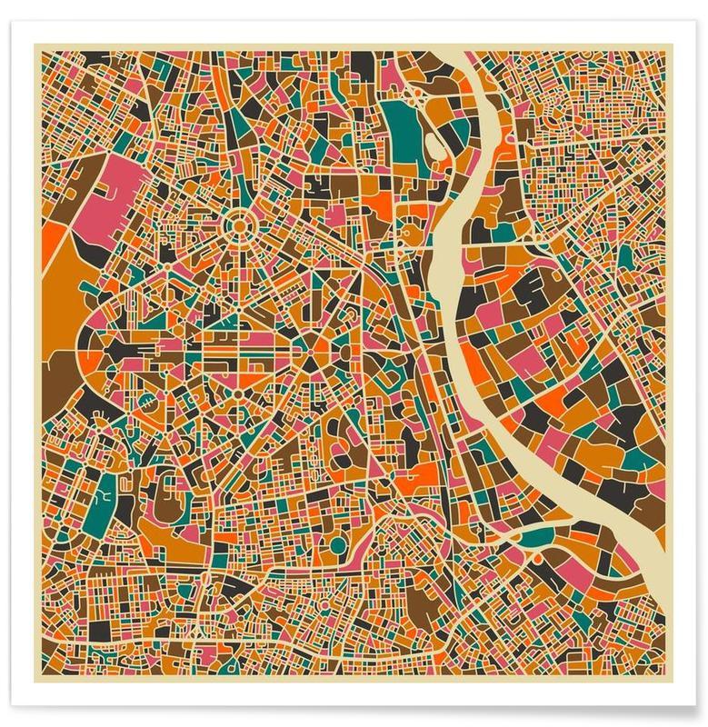 Bykort, New Delhi Colourful Map Plakat
