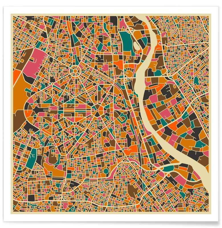 Stadskaarten, New Delhi - kleurrijke kaart poster