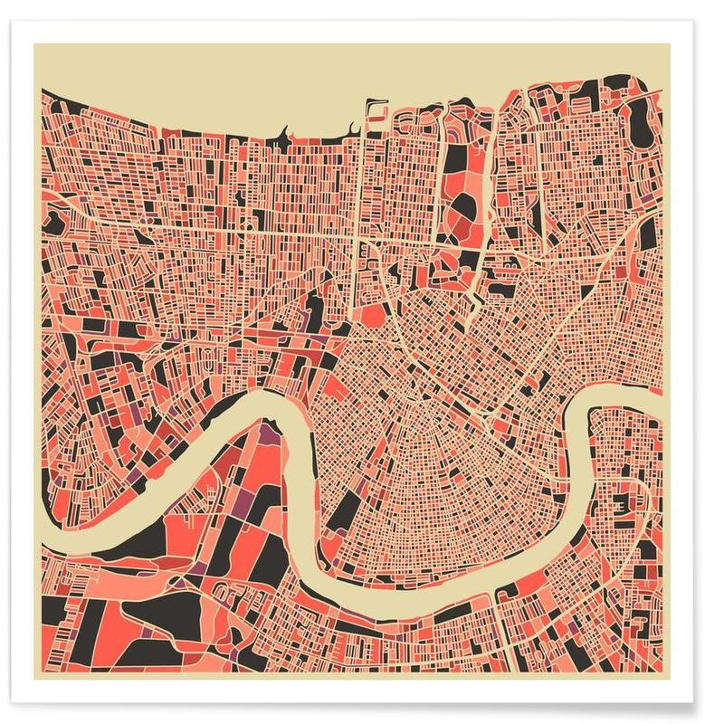 Nouvelle-Orléans - Carte colorée affiche