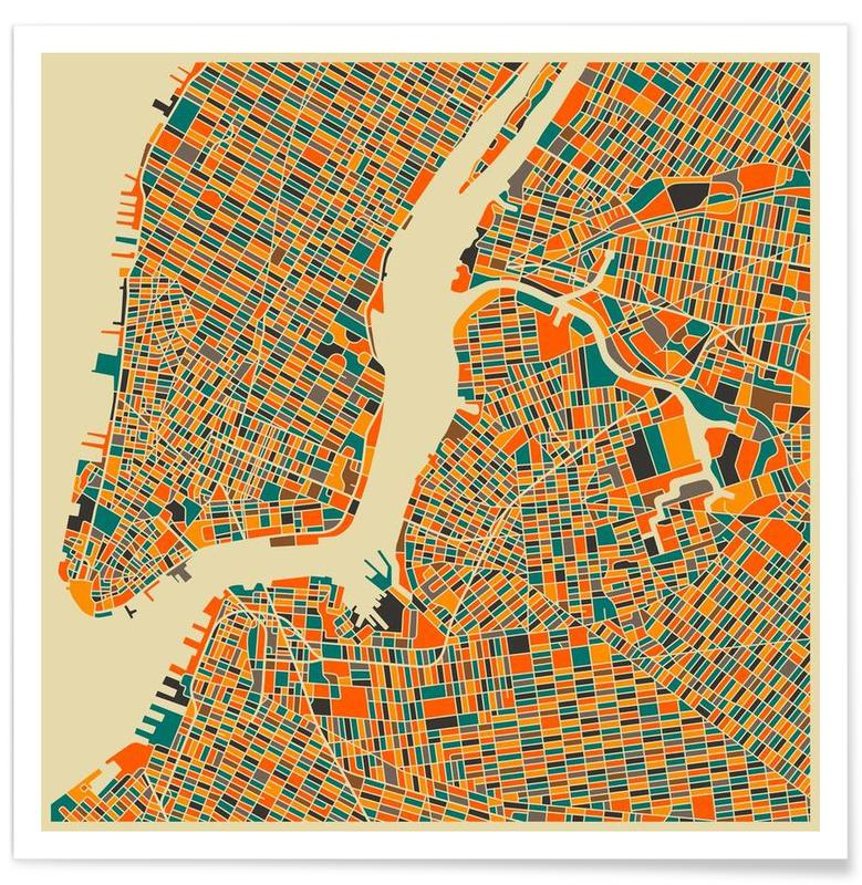 New York Colourful Map Poster