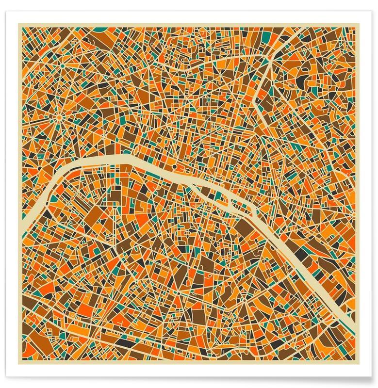 Cartes de villes, Paris, Paris - Carte colorée affiche
