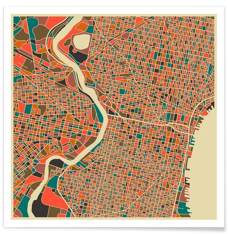 Philadelphie - kleurrijke kaart poster