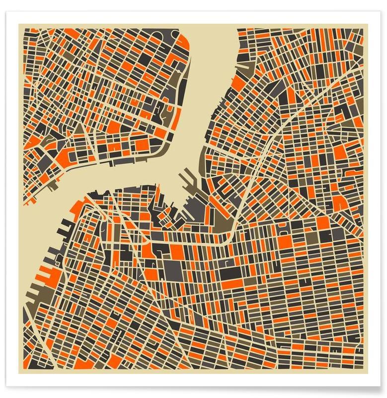 New York, Cartes de villes, Brooklyn - Carte colorée affiche