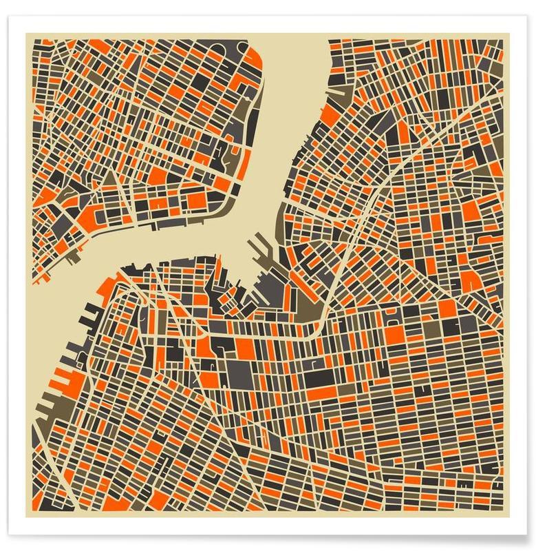 Bunte Brooklyn-Stadtkarte -Poster