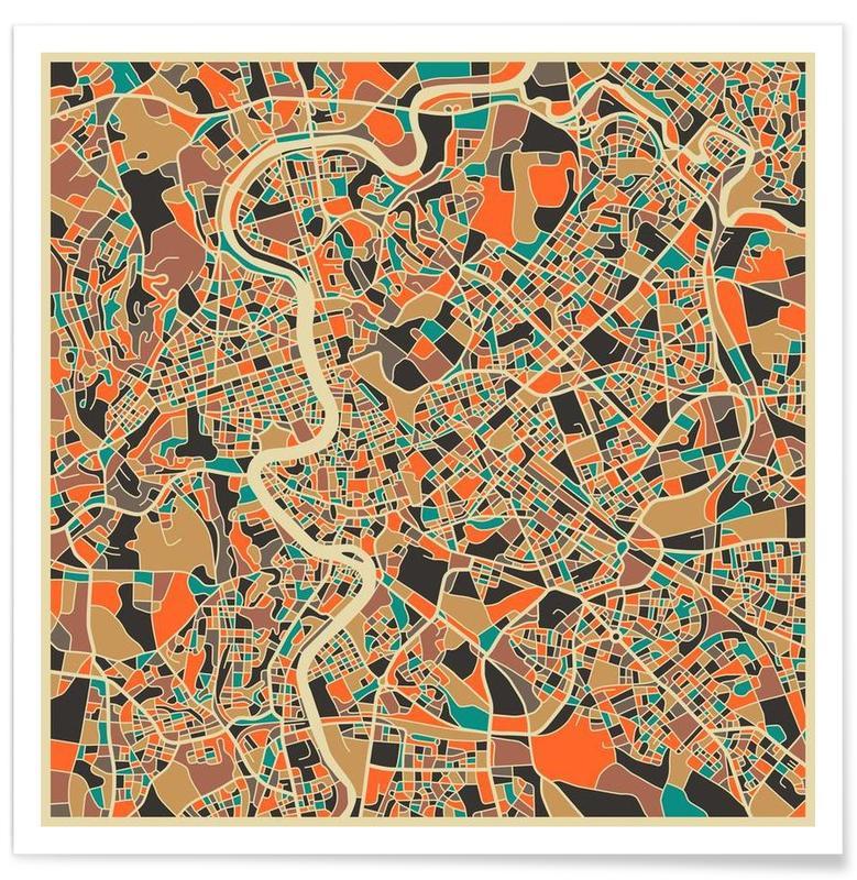 Rome, Cartes de villes, Rome - Carte colorée affiche