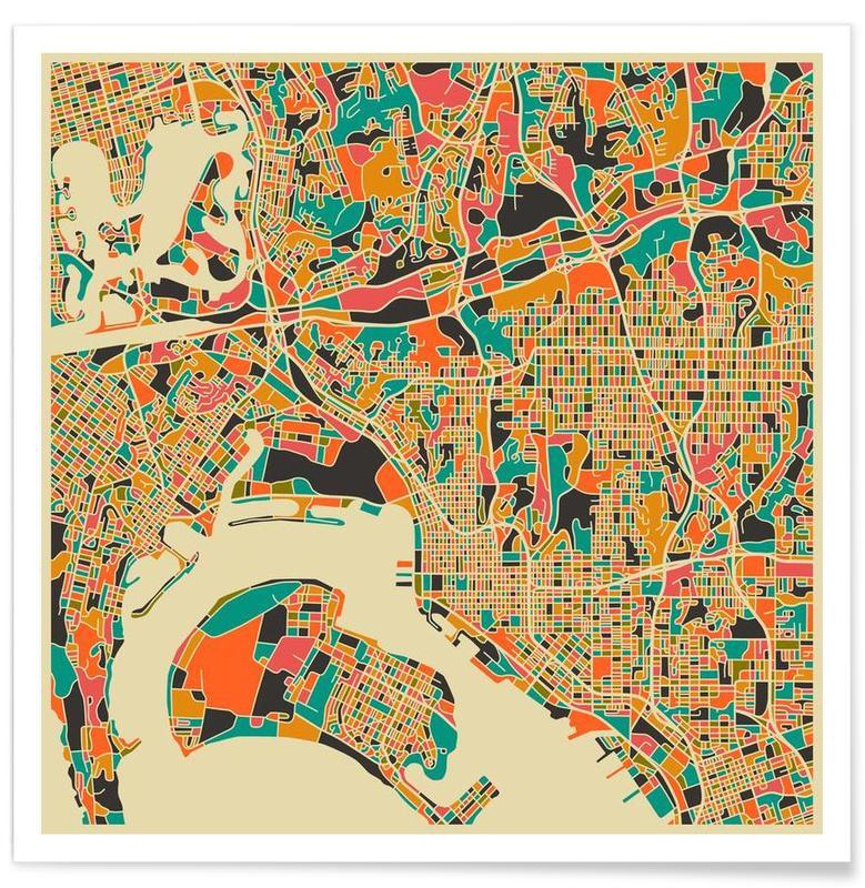 San Diego - Carte colorée affiche
