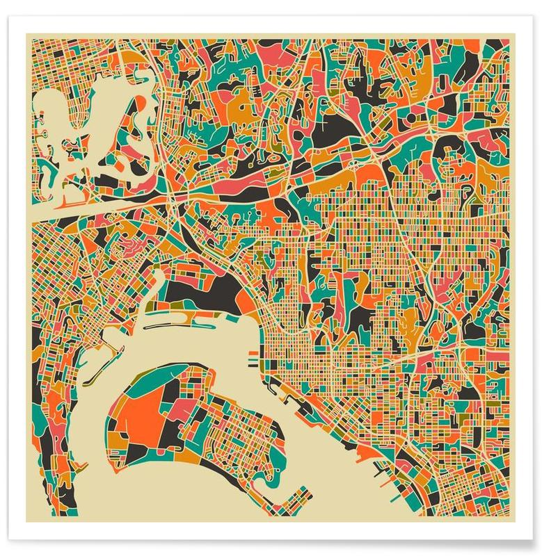 San Diego Colourful Map Poster