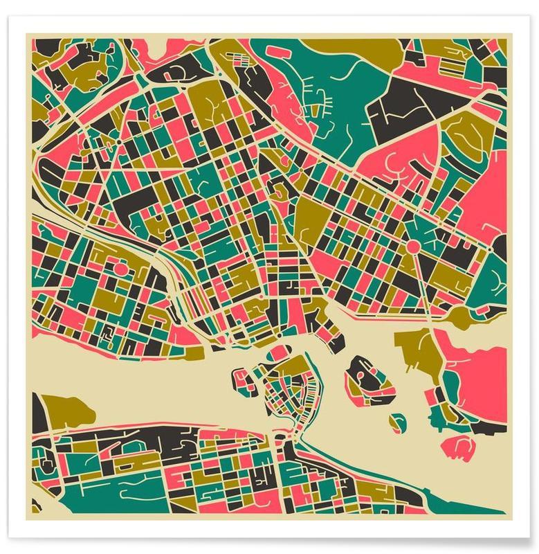 Cartes de villes, Stockholm, Stockholm - Carte colorée affiche