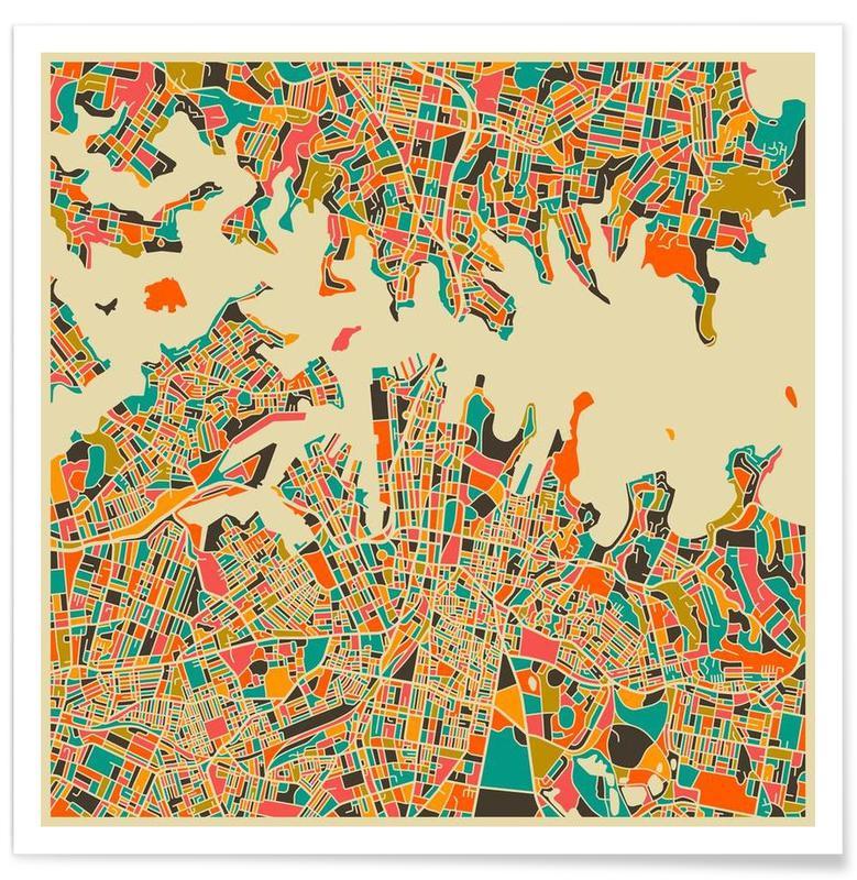 Sydney - Carte colorée affiche