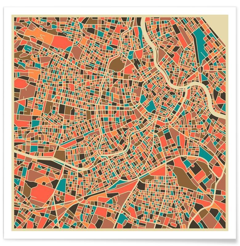 Vienne - Carte colorée affiche