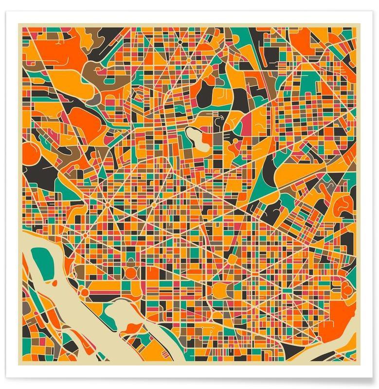 Washington - Carte colorée affiche