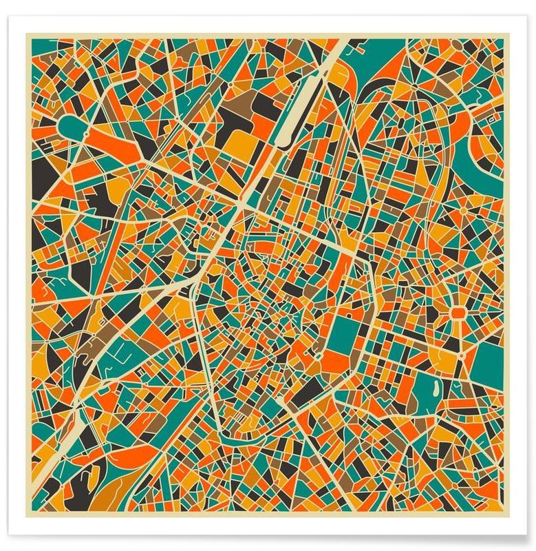 Cartes de villes, Bruxelles - Carte colorée affiche