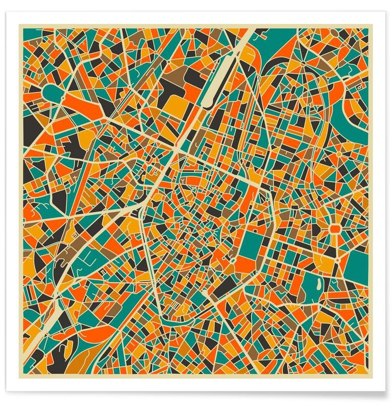 Brussels Colourful Map Poster