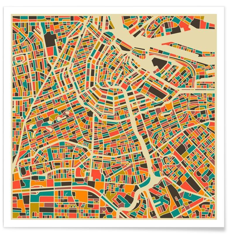 Amsterdam, Cartes de villes, Amsterdam - Carte colorée affiche