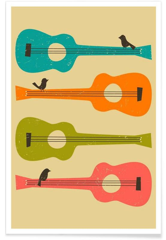 Birds on a Guitar Poster