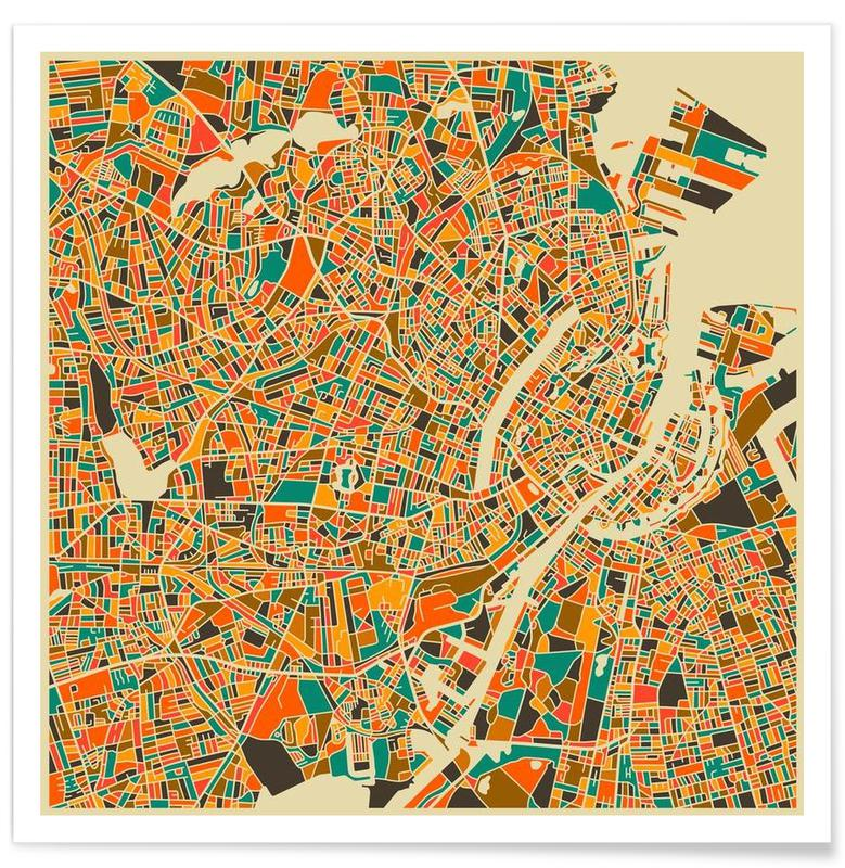 Copenhague - Carte colorée affiche