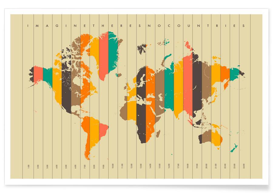 Retro, Verdenskort, Imagine theres no Countries - Beige Plakat