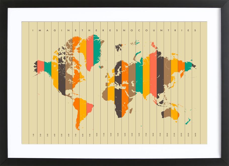 Imagine theres no Countries - Beige ingelijste print