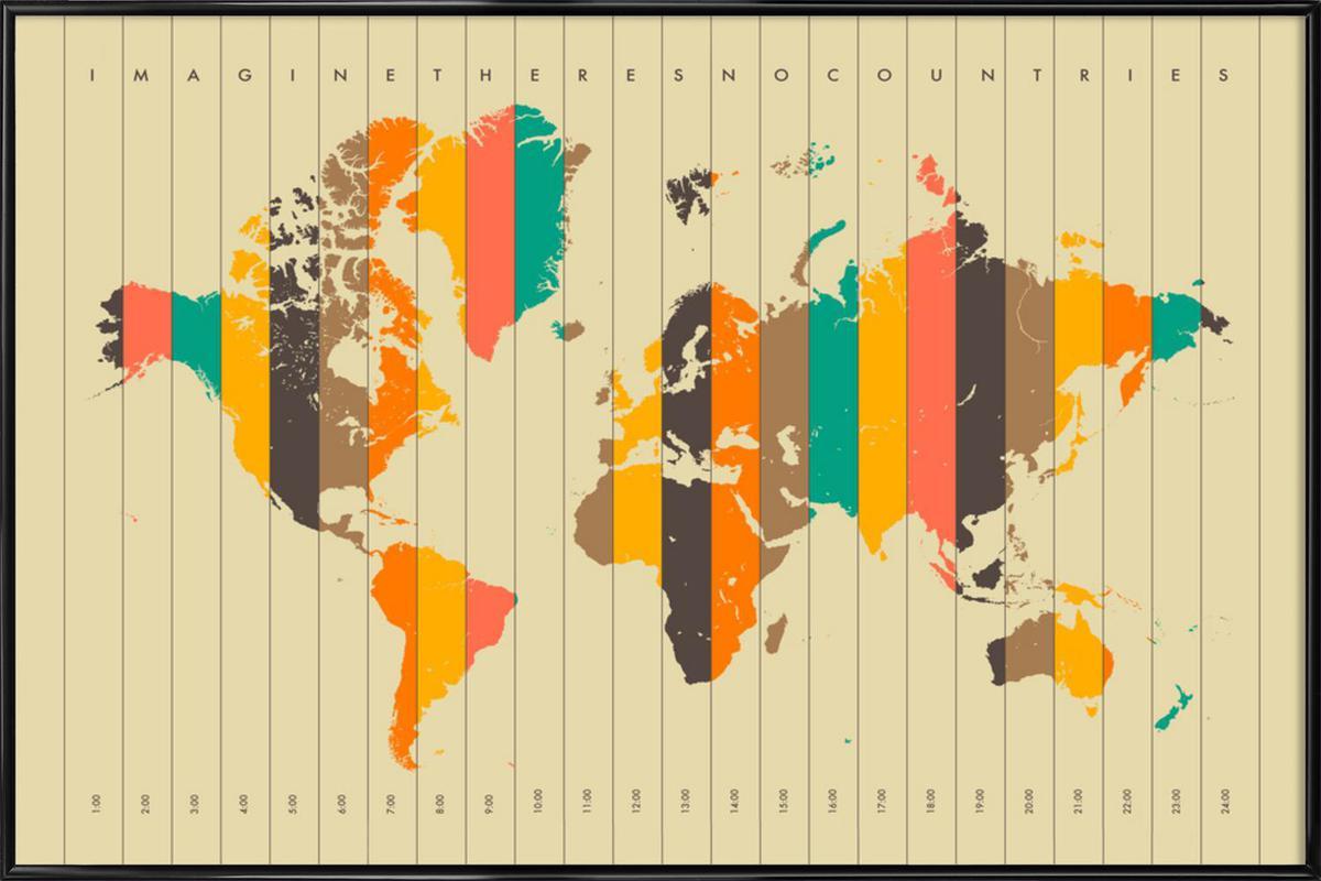 Imagine theres no Countries - Beige -Bild mit Kunststoffrahmen