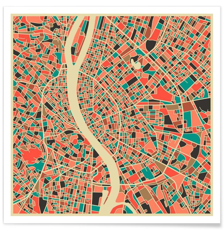 Budapest Colourful Map Poster