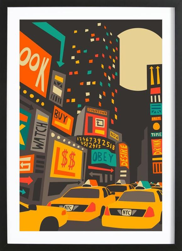 Time Square - Night -Bild mit Holzrahmen