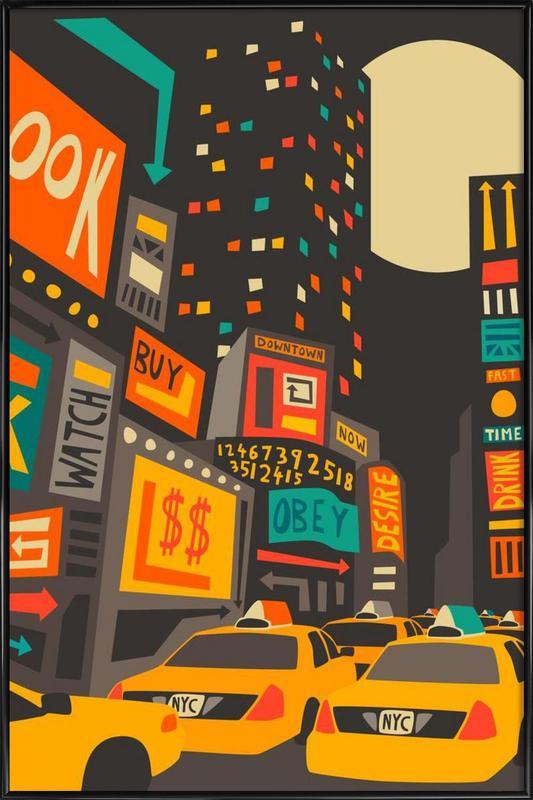 Time Square - Night ingelijste poster