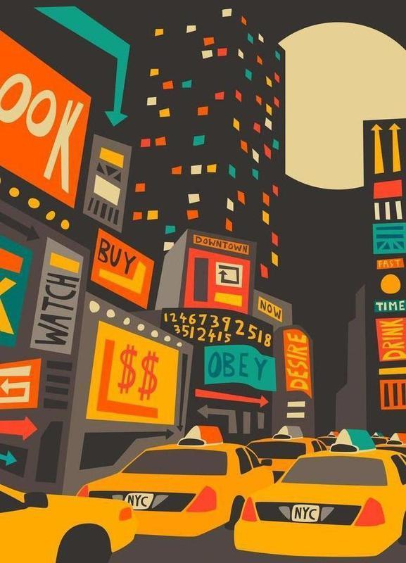 Time Square - Night -Leinwandbild