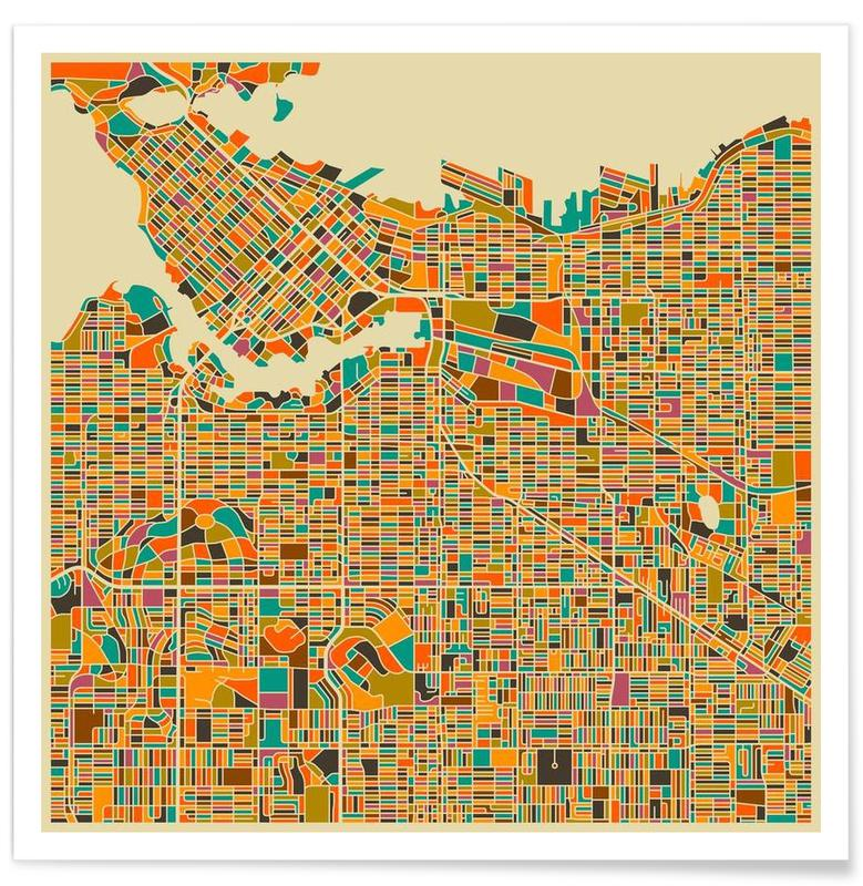 Cartes de villes, Vancouver - Carte colorée affiche