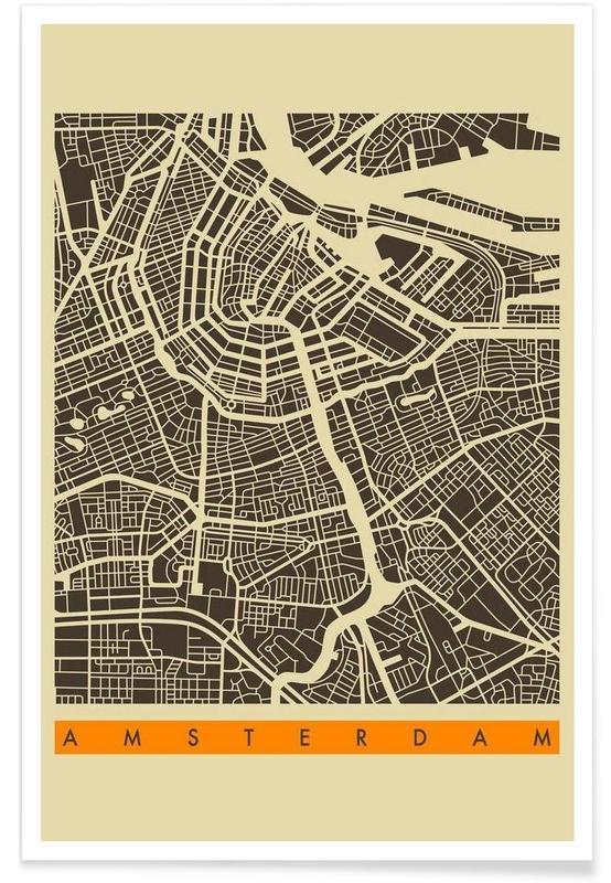 Amsterdam, Cartes de villes, Amsterdam II affiche