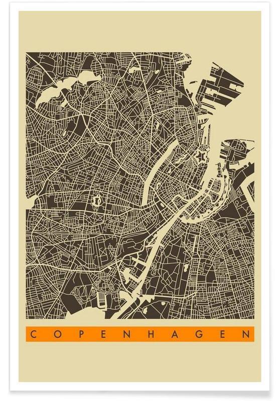 Cartes de villes, Copenhague, Copenhagen II affiche