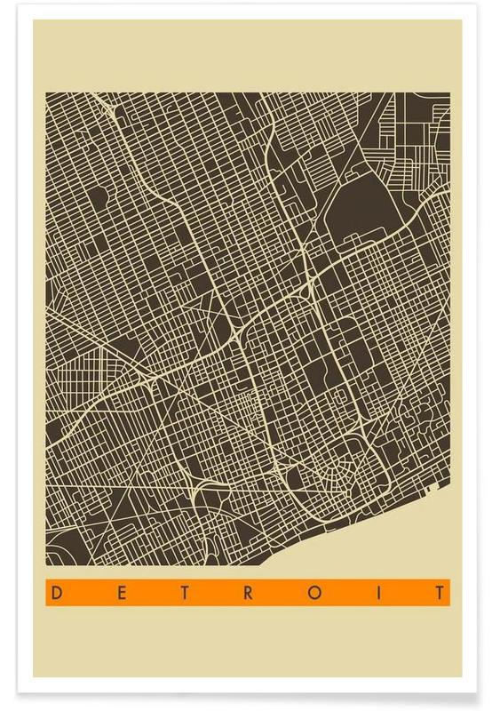 Cartes de villes, Detroit II affiche