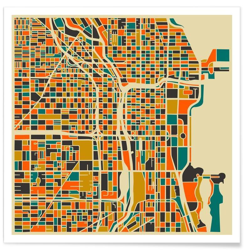 Cartes de villes, Chicago - Carte colorée affiche